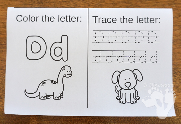 ABC Folding Book: Dot Trace & Color - all 26 letters in fun folding books for kids to use! These are great for a quick review or introduction and make great centers for kids - 3Dinosaurs.com