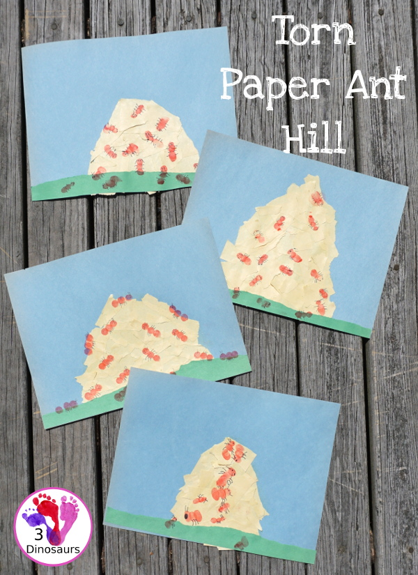 Torn Paper Ant Hills With Fingerprint Ants - Easy to make ant craft for kids - 3Dinosaurs.com