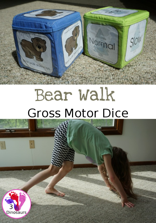 Free Bear Walk Gross Motor Dice -  3 movements with speed dice included with dice and dice incerts - 3Dinosaurs.com
