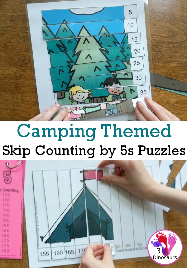 Free Easy To Use Camping Skip Counting by 5s Puzzles - work on skip counting by 5 with these fun puzzles - 3Dinosaurs.com