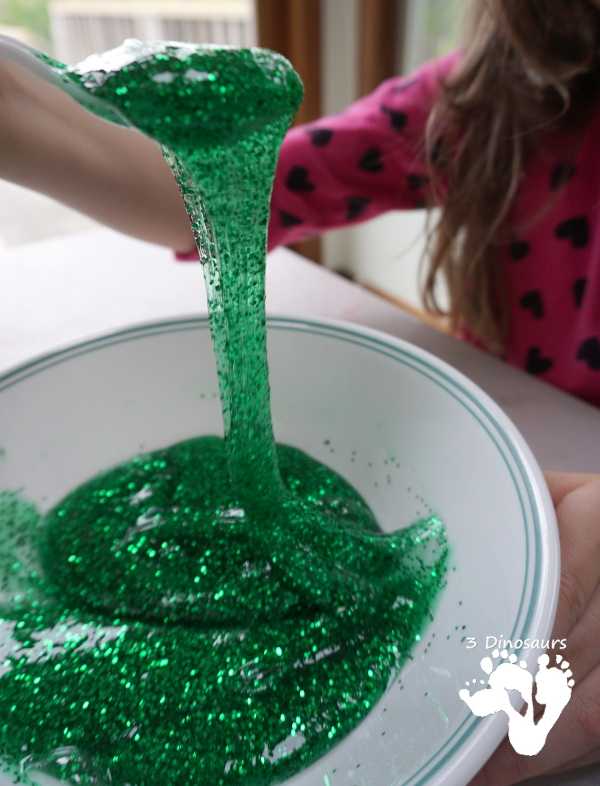 Great Sensory Play With Camping Themed Slime -easy to make with a great book about slime 3Dinosaurs.com
