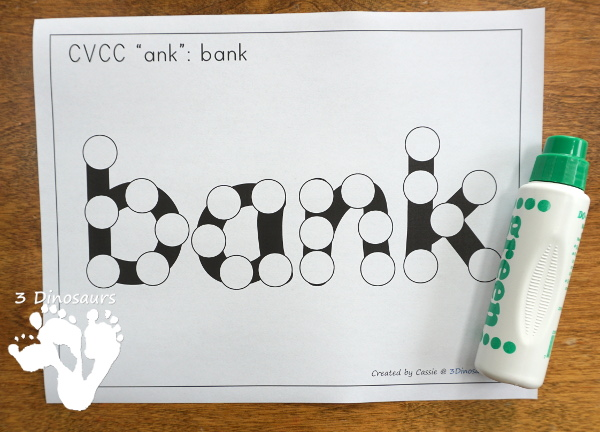 Free CVCC Word Family Dot Marker: -ANK, -INK, -INK & -UNK - 3Dinosaurs.com