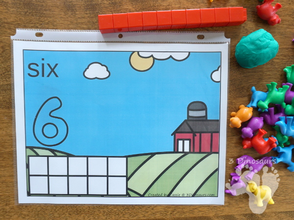 Free Hands-On Farm Themed Counting Mats: 1 to 10 - 10 different mats with two options for bugs and insects - 3Dinosaurs.com