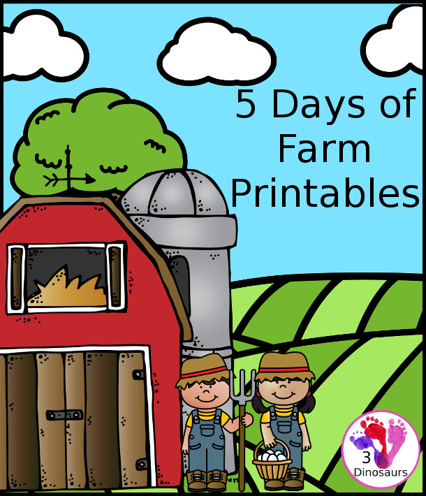 5 Days of EIEI-OH Farm Printables from 3Dinosaurs.com