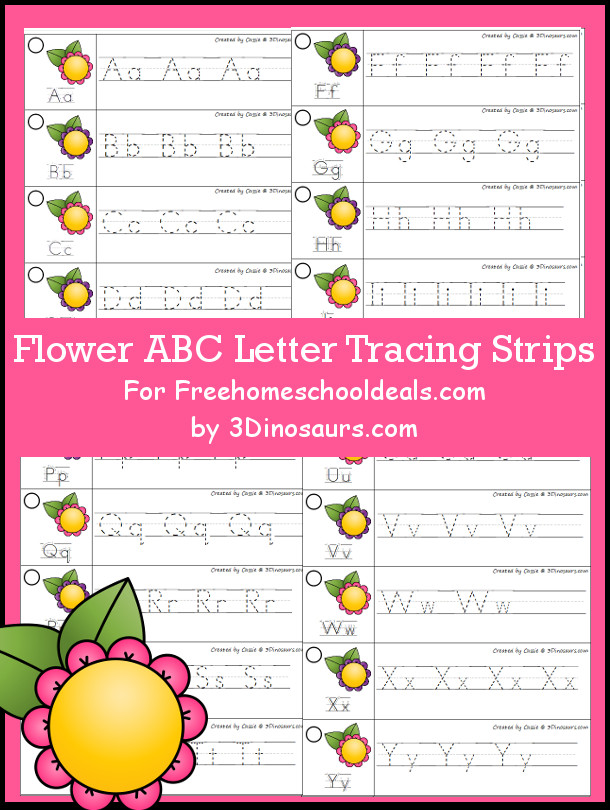 Free Flower Theme ABC Tracing Strips - with uppercase and lowercase together - 3Dinosaurs.com