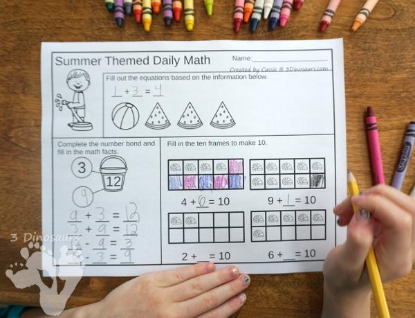 Summer Themed No Prep Math Printables | 3 Dinosaurs