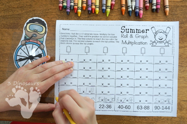 No Prep Summer Addition & Subtraction and Multiplication & Division - 30 pages no-prep printables with a mix of addition and subtraction or multiplication and division activities plus a math center activities - 3Dinosaurs.com #noprepmath #tpt #addition #subtraction #multiplication #division