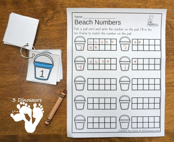 Bubbles & Beach Themed Ten Frame Printables: No-Prep & Hands-On - 168 pages of printables working on ten frame activities for numbers 1 to 20 with hands-on and no-prep: cards, worksheets and easy reader books - 3Dinosaurs.com #handsonmath #teacherspayteachers #tenframe #summerprintablesforkids #printablesforkids