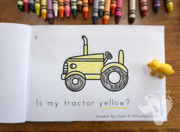 FREE Tractor Color Clip Cards & Matching Book - 6 clip cards with a matching 6-page easy reader book - 3Dinosaurs.com
