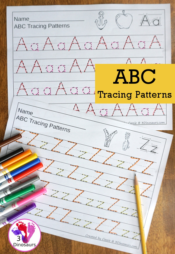 ABC Tracing Patterns - 26 page no prep printable - They have a mix of patterns for each page. $ - 3Dinosaurs.com