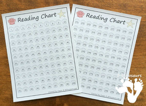 Free Beach Themed Reading Charts: ABC Theme for Book Title & Author and 100 Charts are great for helping give kids a fun way to read books during the summer - 3Dinosaurs.com