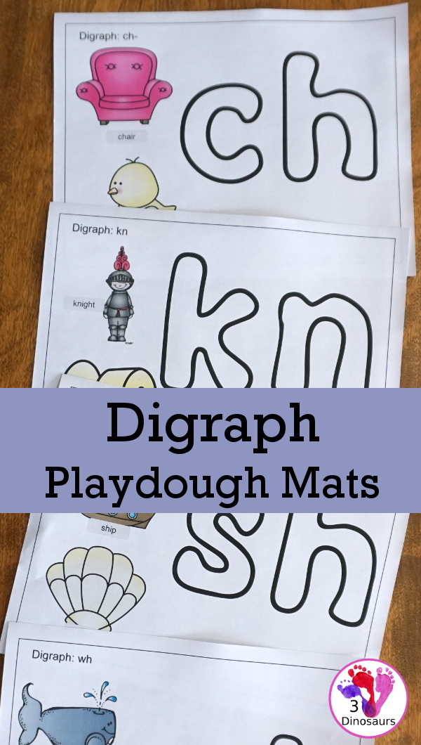 Free Digraph Playdough Mats - 13 mats including beginning and ending digraphs for kids to learn with - 3Dinosaurs.com