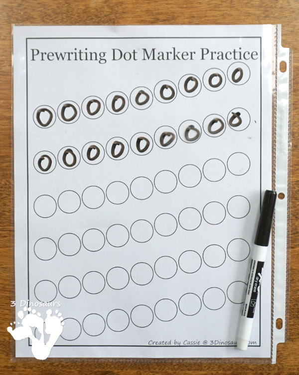 Free Prewriting Dot Marker Pages - fun pages for kids to use with dot markers or hands-on objects for working on early prewriting - 3Dinosaurs.com