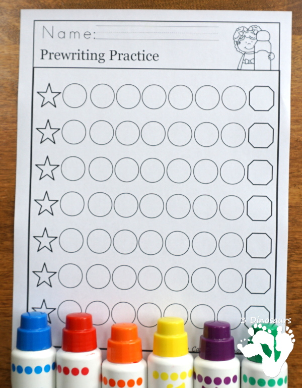 Fine Motor Dot Prewriting Printable Set - easy pages ready for teachers to use no-prep pages, easy reader books, tons of new dotting pages and options for kids. It has 154 pages of printables $ - 3Dinosaurs.com