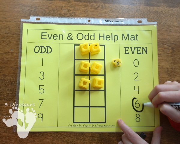 Free Even & Odd Math Help Mat - easy to use make to help explain even and odd to kids - 3Dinosaurs.com