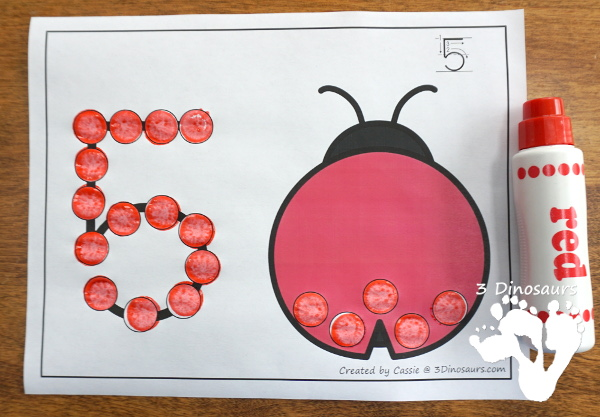 Ladybug Dot the Number & Count the Dots - numbers 1 to 20 with dot marker activities for kids to work on numbers and counting - 3Dinosaurs.com