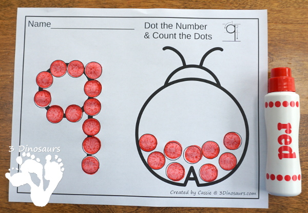 Ladybug Dot the Number & Count the Dots - numbers 0 to 20 with dot marker activities for kids to work on numbers and counting - 3Dinosaurs.com