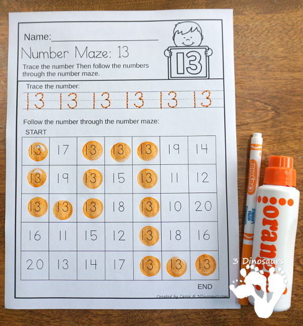 No-Prep Number Mazes - numbers 0 to 20 with tracing of the number - 3Dinosaurs.com