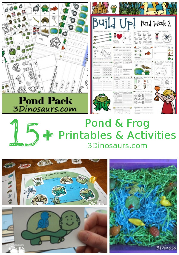 Pond & Frog Themed Printables & Activities - Collection of pond and frong themed printables and activities for kids to do - 3Dinosaurs.com