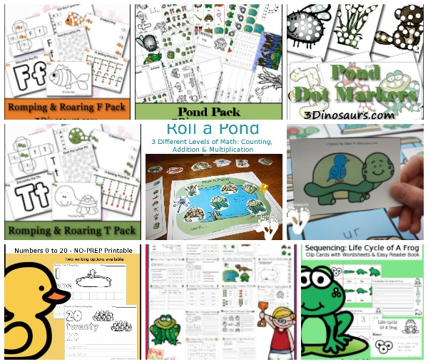 Pond & Frog Themed Printables & Activities - Collection of pond and frong themed printables - 3Dinosaurs.com