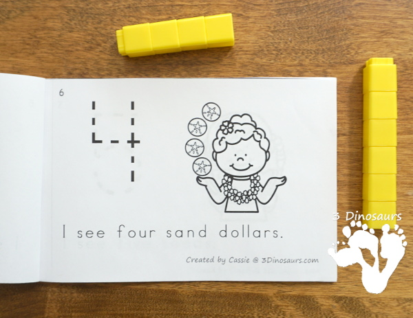 Free Summer Kids Counting Easy Reader Book - 12 page book with numbers 0 to 10 for kids to work on with tracing the number - 3Dinosaurs.com