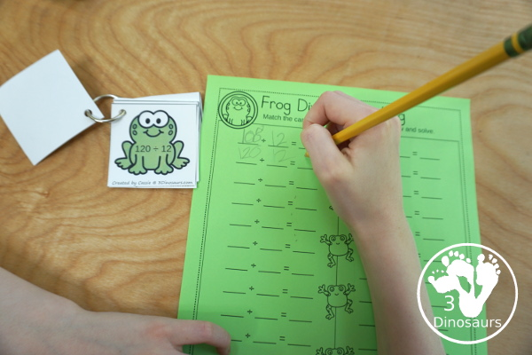 Free Frog Themed Division Sorting - work on division from 1 to 12 with two sizes of sorting mats with 12 cards for each number. There is also a recording sheet.  - 3Dinosaurs.com