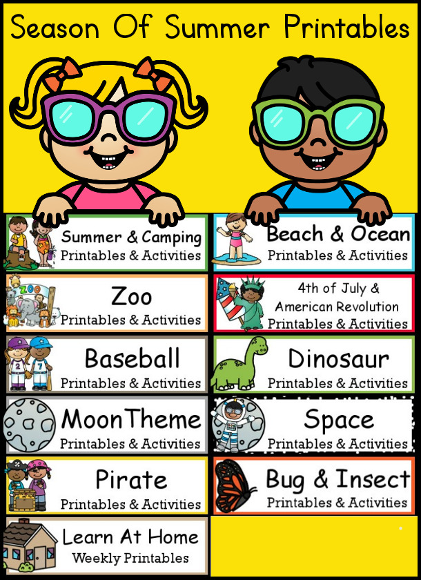 Season of Summer themed Printables with printable packs, reading charts and summer bucket lists - 3Dinosaurs.com