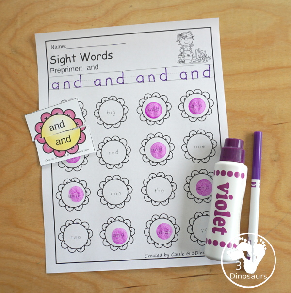 Flower Sight Word Finds with the Flower matching puzzles - all 220 Dolch Sight Words - 3Dinosaurs.com