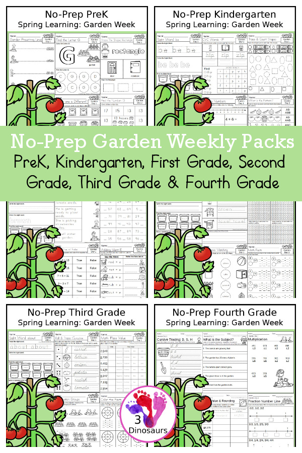 Garden No-Prep Weekly Packs PreK, Kindergarten, First Grade, Second Grade, Third Grade & Fourth Grade with 5 days of activities to do for each grade level - You will find a mix of math, language, and more - These are easy to use packs for summer learning, homework, distance learning, early finisher, and morning work. Easy no-prep printables for kids with four pages for each day - 3Dinosaurs.com