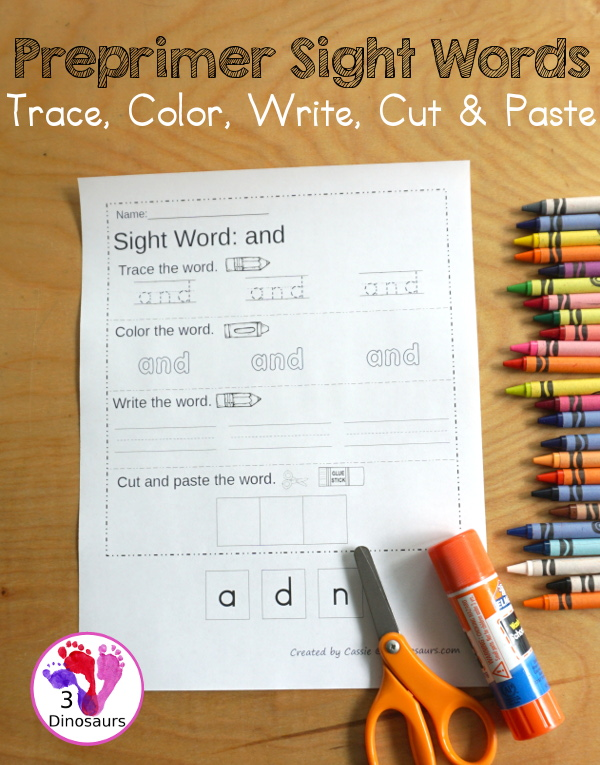 Free Preprimer Sight Word Trace, Color, Write, Cut & Paste - all 40 dolch pre primer sight words in an easy to use worksheet that has trace, coloring, writing, and cut and paste for the sight words - 3Dinosaurs.com