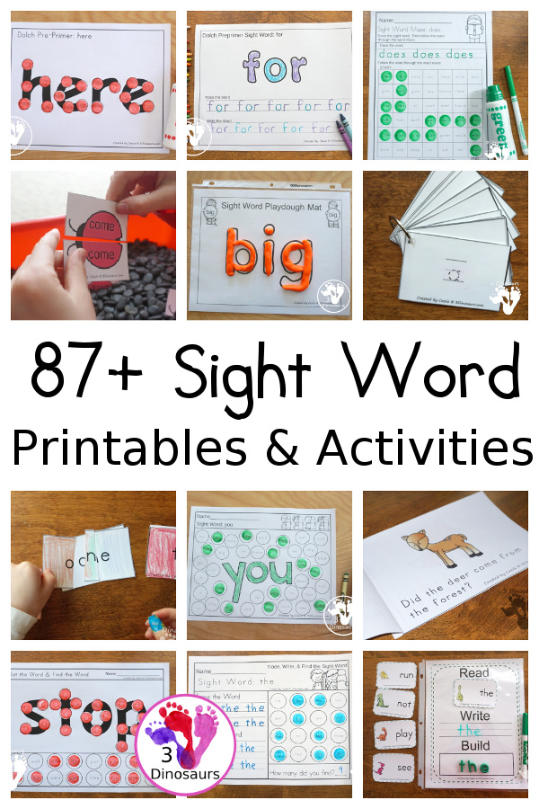 Sight Word Activities & Printables on 3Dinosaurs.com