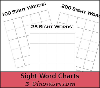Sight Word Charts - 3Dinosaurs.com