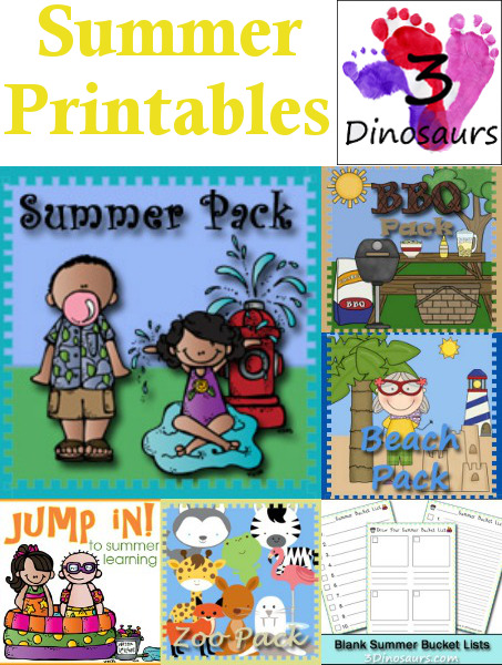 Summer Printables on 3 Dinosaurs