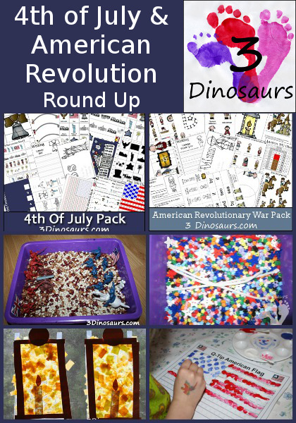 4th of July & American Revolution Round Up on 3 Dinosaurs