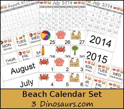 Free Beach Calendar Set