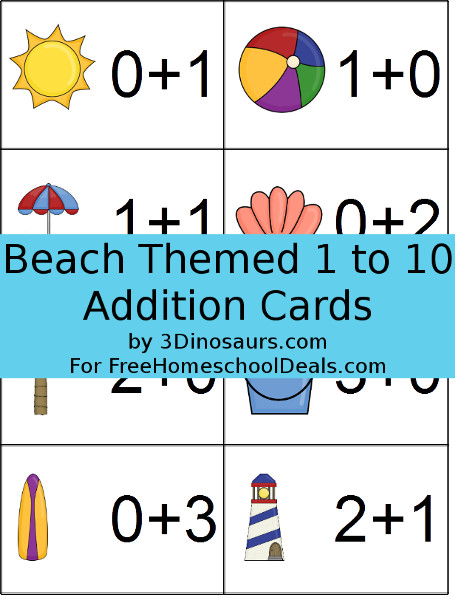 Free Beach Theme Math Cards - 3Dinosaurs.com