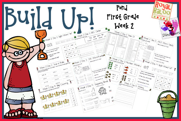 Build Up Summer Learning: Week 2 Pond - First Grade: Sight Words: an, give, had, of, stop; Word Families: -ake, -ace, -ine, -oat, -ice; Math and Language.- 3Dinosaurs.com