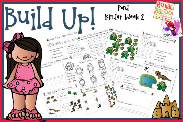 Build Up Summer Learning: Week 2 Pond - Kinder: Sight Words: am, came, now, well, yes; Word Families: og, et, at, ed, ig; Math and Language.- 3Dinosaurs.com