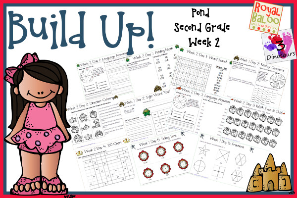 Build Up Summer Learning: Week 2 Pond - Second Grade: Sight Words: because, fast, sing, which, your; Word Families: -ong, -atch, -ack -uck, - eck; Math and Language.- 3Dinosaurs.com