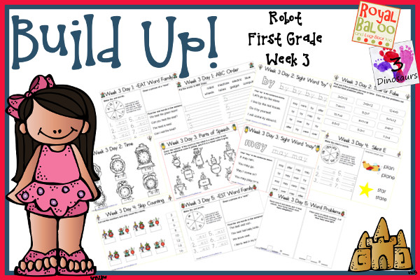 Build Up Summer Learning: Week 3 Robot - First Grade:  Sight Words: after, by, may, over, were; Word Family: -eat, -ay, -ail, -ide, -ice; Math and Language  - 3Dinosaurs.com