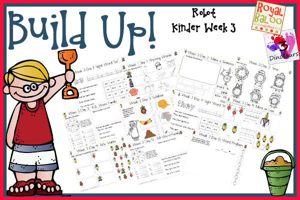 Build Up Summer Learning: Week 3 Robot - Kinder: Sight Words: be, get, must, they, went; Word Family: -ink, -an, -ell, -ug, -im; Math and Language  - 3Dinosaurs.com