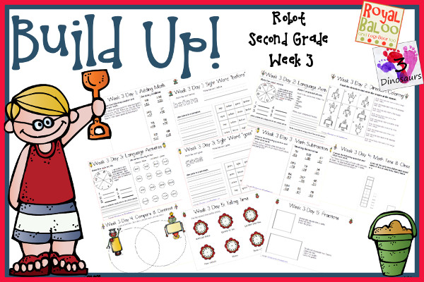 Build Up Summer Learning: Week 3 Robot - Second Grade: Sight Words: before, buy, goes, right, these; Word Family: -ip, -unch, -ock, -one, -each; Math and Language - 3Dinosaurs.com
