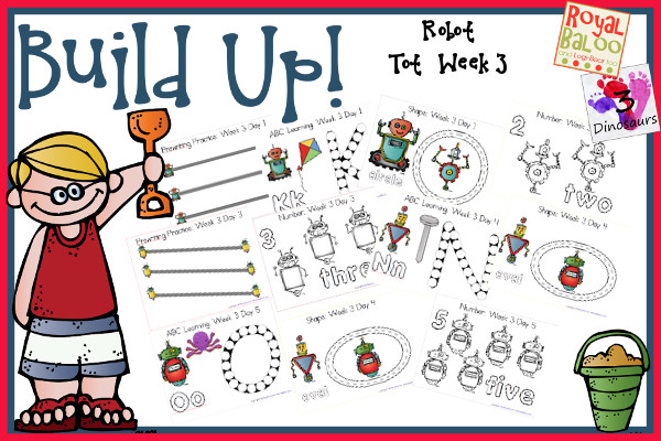 Build Up Summer Learning: Week 3 Robot - Tot: Prewriting, Alphabet: L, M, N, O, P; Numbers: 1, 2, 3, 4, 5; Shapes: circle, square, triangle, oval & rectangle  - 3Dinosaurs.com