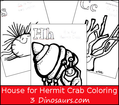 Free House for Hermit Crab Coloring Pages- 3Dinosaurs.com