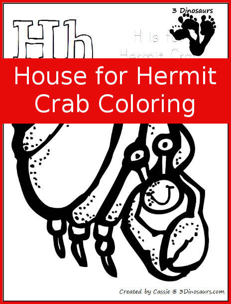 Free House for Hermit Crab Coloring 3 Dinosaurs