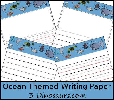 Free Ocean Themed Writing Paper - 3Dinosaurs.com