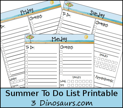 Free Summer Themed To Do Printables- 3Dinosaurs.com