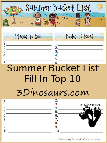 Free Summer Bucket List - 3Dinosaurs.com