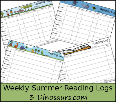 Free Weekly Summer Reading Charts - 3Dinosaurs.com