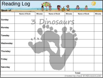 Free Weekly Summer Reading Charts Inosaurs